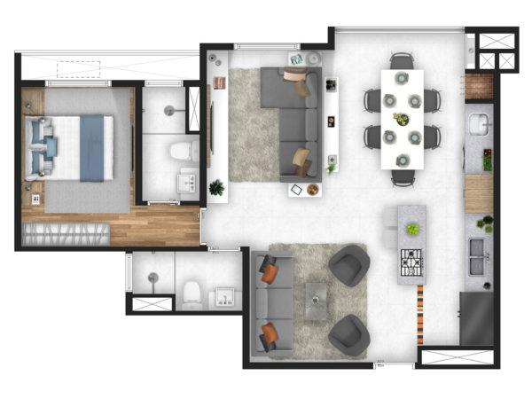 Horizon residencial - Martin Luther King - planta 2 dormitorios