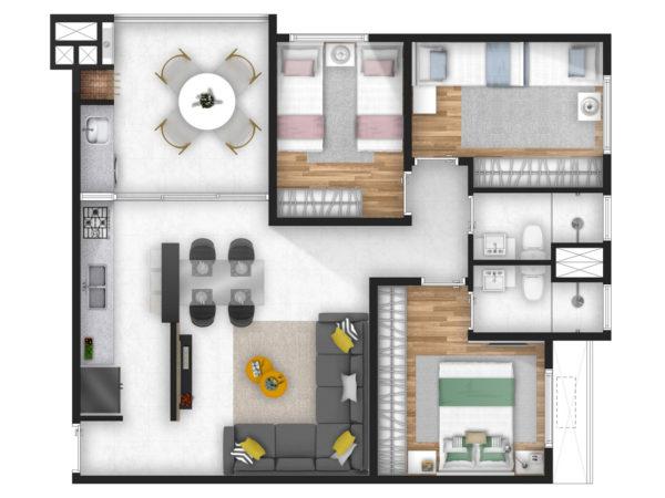Horizon residencial - Martin Luther King - planta 3 dormitorios