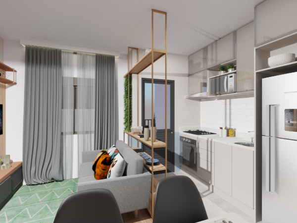 Living integrado - Projeto Ana Ventura Tipo 2