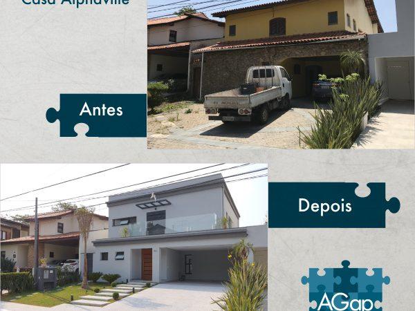 Antes e Depois - Projeto Reforma Casa Alphaville